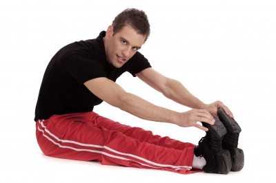 athlete stretching