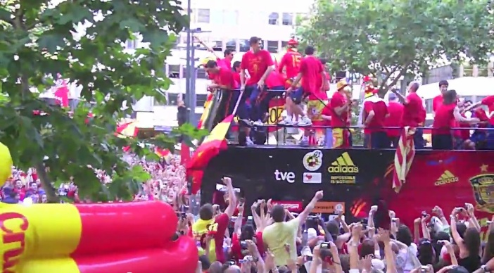 Spanish players after world cup victory