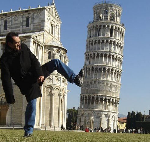 kicking leaning tower of pisa