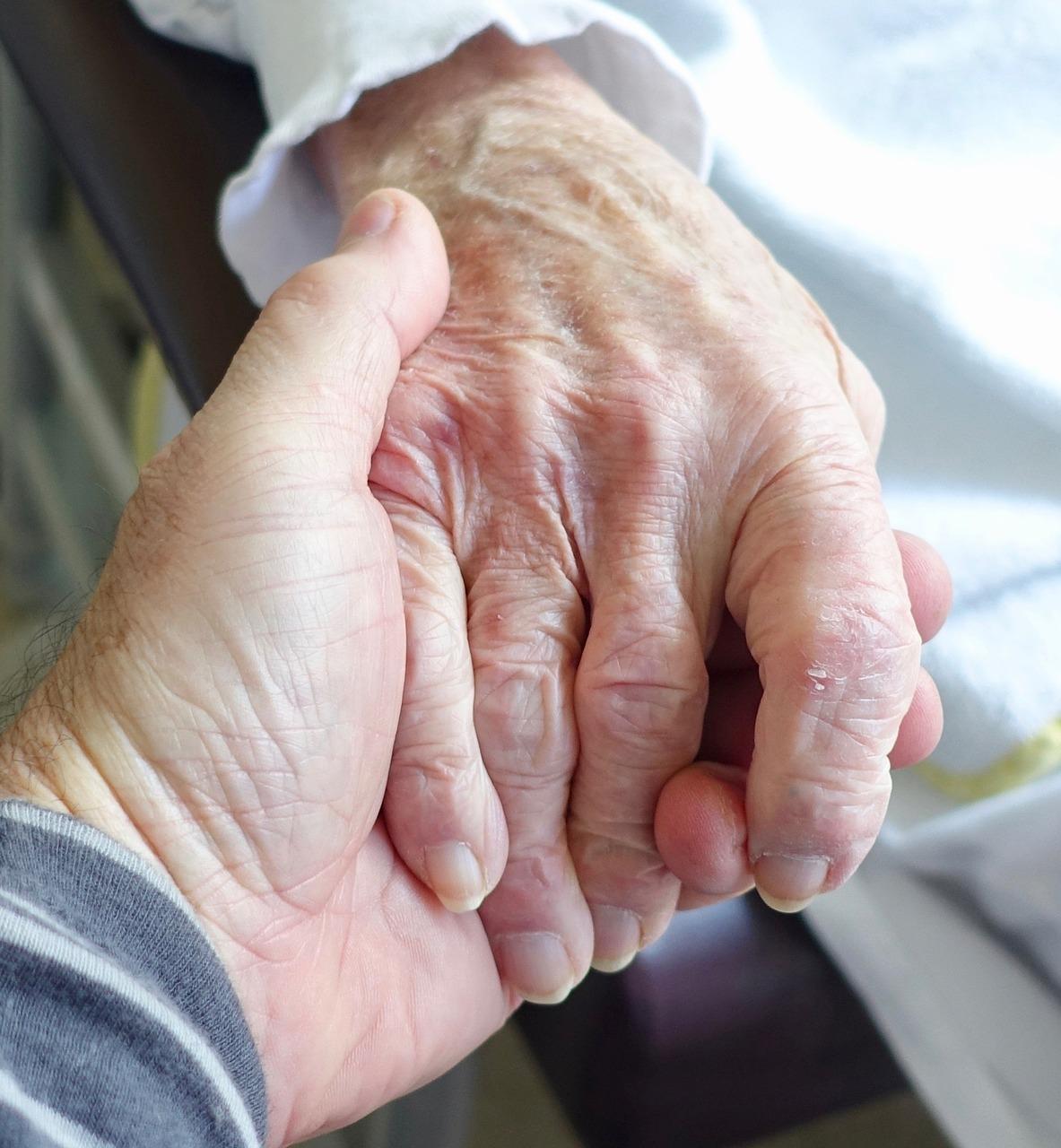 Sympathy Hand Elderly Care Woman Aged Senior
